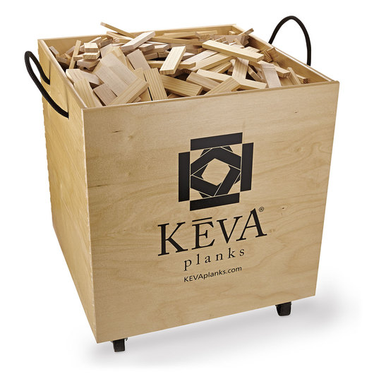 KEVA® Maple Planks in Wooden Bin