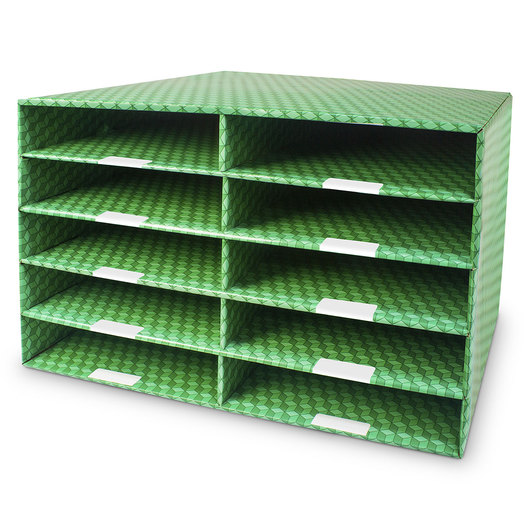 Corrugated Classroom Storage - 10-Compartment Construction Paper Sorter