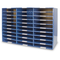 Corrugated Classroom Storage - 30-Compartment Blue Paper Sorter