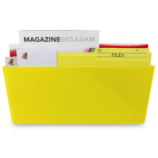 Magnetic Wall Pocket - Legal Size - 16 in. L x 4 in. W x 7 in. H - Yellow