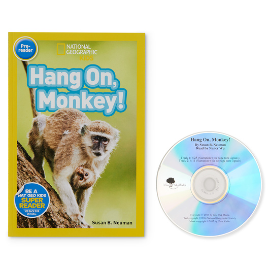 National Geographic Read-Along Pre-Reader Book and CD - Hang On, Monkey!