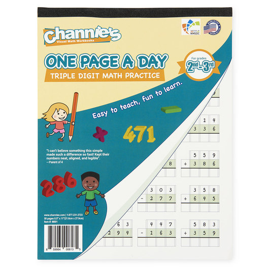 Channie's™ Math Line-Up One Page a Day Pads - Triple-Digit Math
