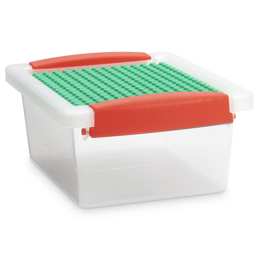 Snap Handle Totes with Building Block Plate - 7 in. L x 5-1/2 in. W x 3 in. H - Clear