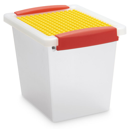Snap Handle Totes with Building Block Plate - 7 in. L x 5-1/2 in. W x 5-3/4 in. H - Clear