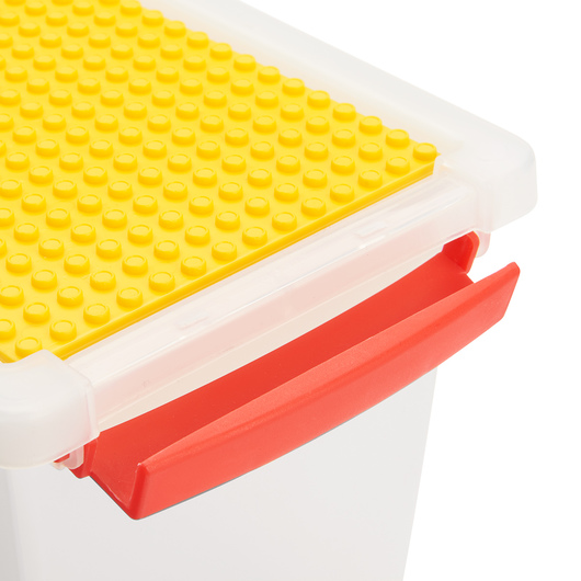 Snap Handle Totes with Building Block Plate - 11-1/2 in. L x 7 in. W x 3 in. H - Clear
