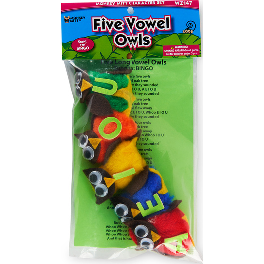 Fingerplay Character Set - Five Vowel Owls