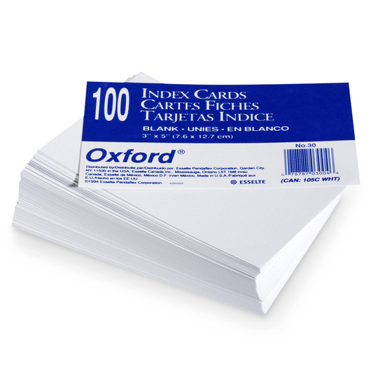 Cards, Index, 3 in. x 5 in., Blank, pk/100