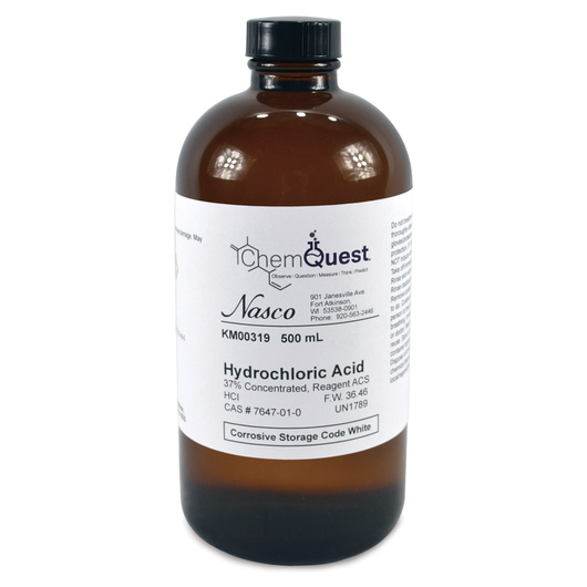 Hydrochloric Acid - 500 ml, 37% Concentrated