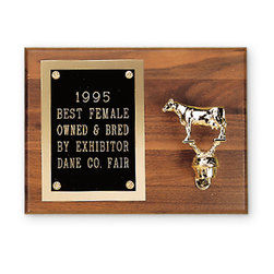 Plaque with Dairy Cow Figurine