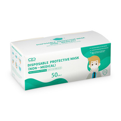 Adult 3-Ply Disposable Face Mask, Pack of 50