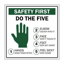 Graphic Social Distancing Signs, 12 in. x 12 in., Do The Five
