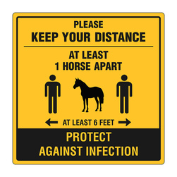 Graphic Social Distancing Signs, 12 in. x 12 in., 1 Horse Apart