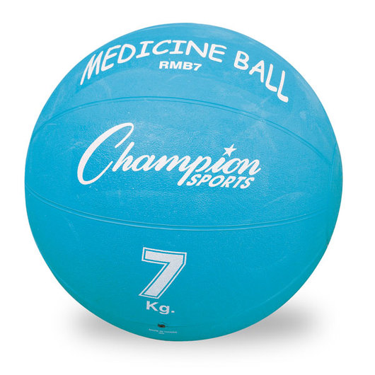 7 kg. (14-15 lbs.) Rubberized Medicine Ball - Light Blue