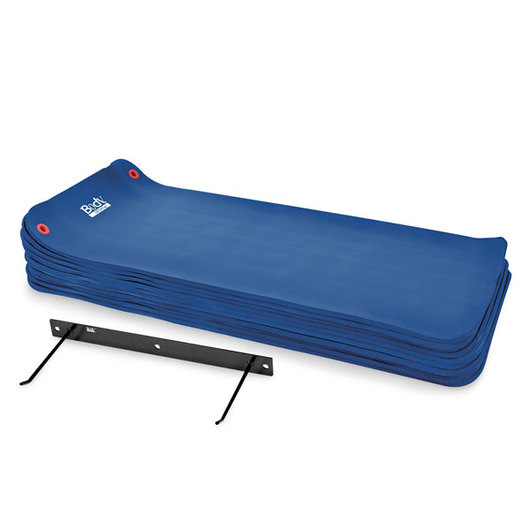 Exercise Mats with Storage Rack - 72 in. L, Blue, Set of 10