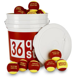 Quick Start 36 Red Felt Balls with Slogans - 48-Ball Bucket