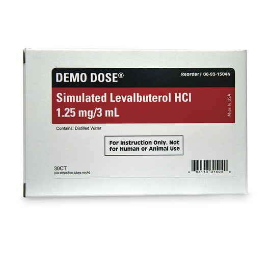 Demo Dose® Simulated Inhalation Medication - Levalbuterol HCL -0 1.25 mg/3 ml