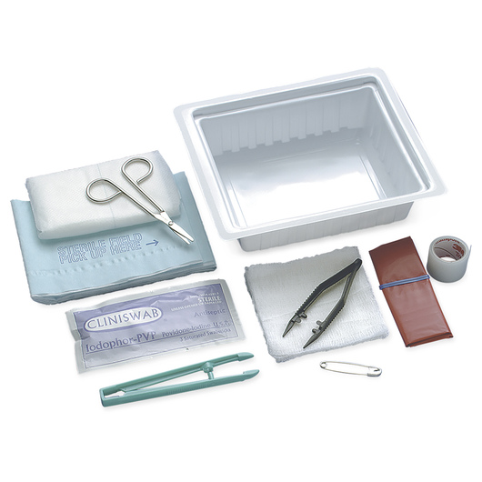 Dressing Change Tray with Instruments and Abdominal Pad