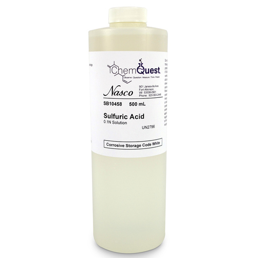 Sulfuric Acid - 500 ml, 0.1N Solution