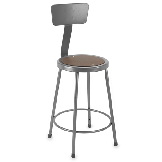 Steel Stationary Stool - Seat Height 24 in., with Back