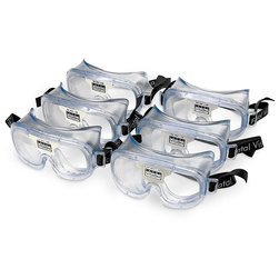 Fatal Vision White Label Goggles, Clear, Pack of 6