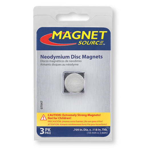 Neodymium Disc Magnets - 18 mm x 3 mm (11/16 in. D x 1/8 in. Thick)