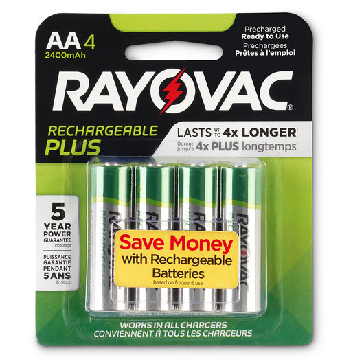 "Rayovac® Reusable ""AA"" Batteries – Pkg. of 4"