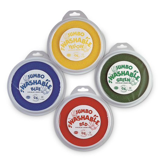 Center Enterprises Jumbo Washable Ink Stamp Pads 6 in. Dia. - Set of 4, Primary Colors