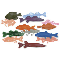 Nasco Freshwater Fish Replica Rubber Stamp Set for Printmaking - Set of 7