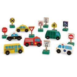 Pretend Play Set, Wooden Vehicles and Traffic Signs Set
