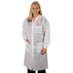 Disposable Knee-Length Lab Coat - Large