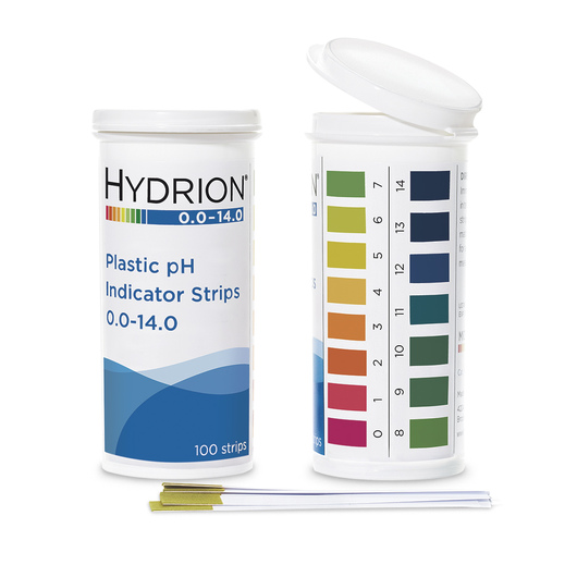 Hydrion Spectral Plastic pH Strips - 0.0-14.0 pH Strips - Pack of 100