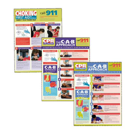 Children's First Aid Posters - 18 in. x 24 in. - Set of 3