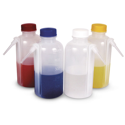 Unitary Wash Bottles with Colored Caps