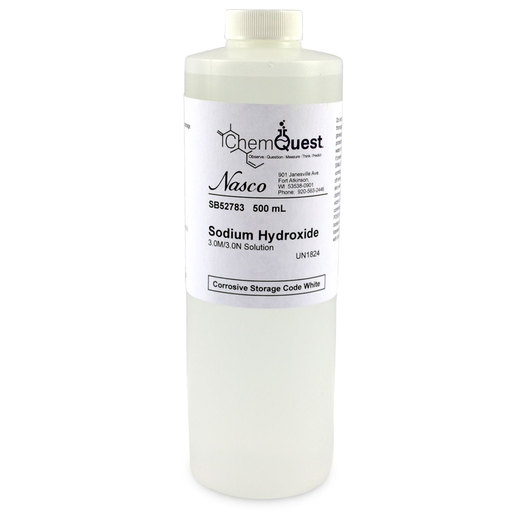 Sodium Hydroxide - Lab Grade - 3M/3N - 500 ml