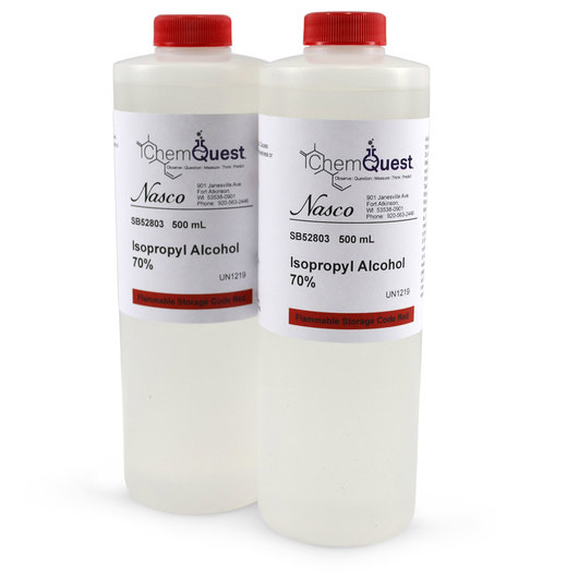 Isopropyl Alcohol - Lab Grade - 70% - Case of 2, 500 ml Each