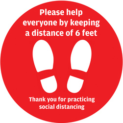 Shoe Print Social Distancing Floor Signs, 17 in., Set of 5