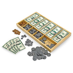 Play Money Set in Wooden Case