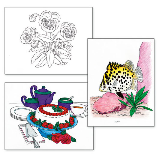 Adult Color Designs - Seascapes, Flowers, and Still Life Set #1
