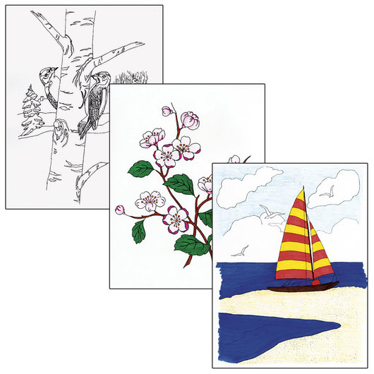 Adult Color Designs - Seascapes, Flowers, and Still Life Set #2