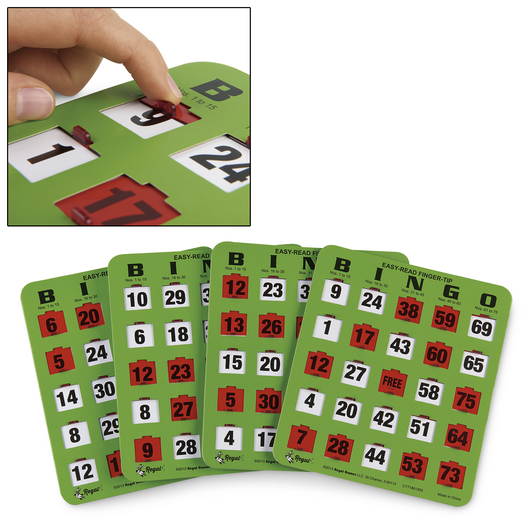 Regal Games Easy Read Jumbo Shutter Slide Bingo Cards with Big Tabs