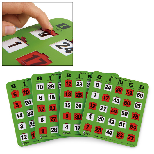 Easy-Read Fingertip Slide Bingo Cards - Package of 100 Cards