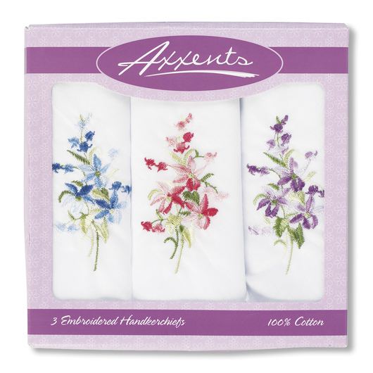 Embroidered Handkerchiefs - 3 Count - Assorted