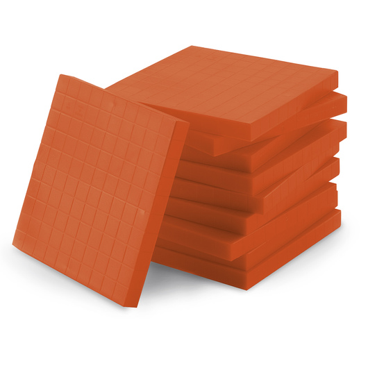 Orange Base 10 (Ten) Blocks - Pkg. of 10 Flats