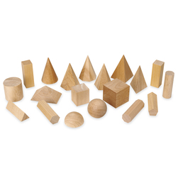 Wooden Geometric Solids, 19 pcs.