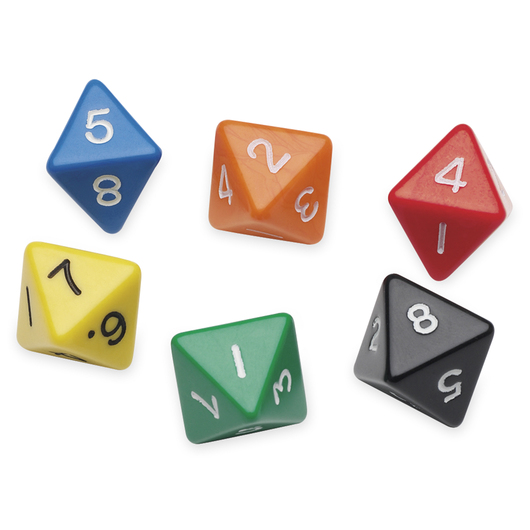 8-Sided (Octahedron) Polyhedra Dice - Numbered 1-8