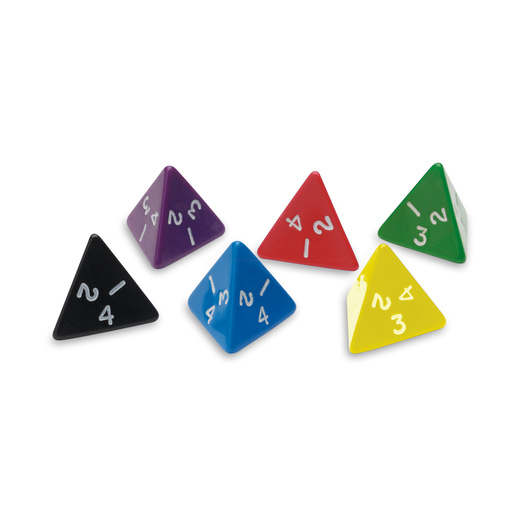 4-Sided (Tetrahedron) Polyhedra Dice - Numbered 1-4