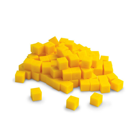 Yellow Base 10 (Ten) Blocks - Pkg. of 100 Unit (Fat) Cubes
