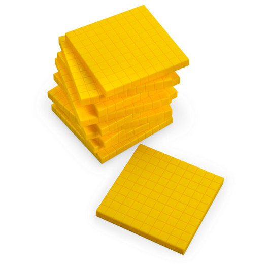 Yellow Base 10 (Ten) Blocks - Pkg. of 10 Flats
