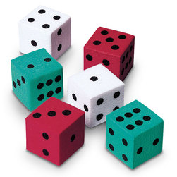 Nasco Foam Red, Green and White Dot Dice