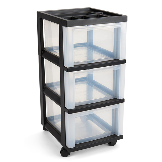 3-Drawer Black Mini Chest